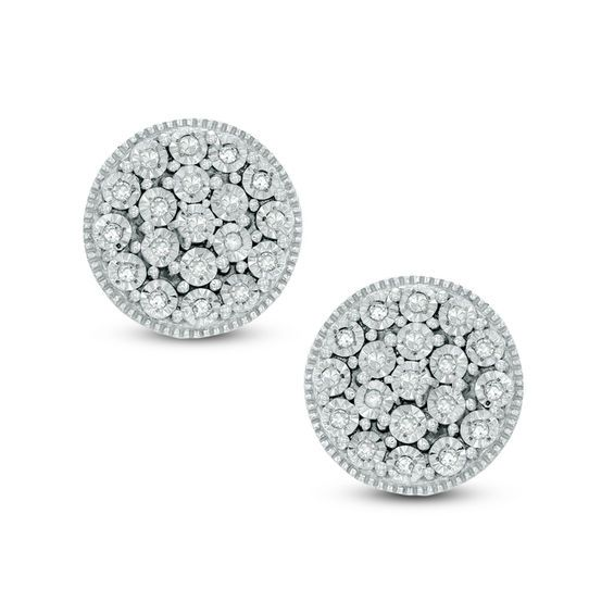 .60 Cttw Diamond Cluster Earring Set In Sterling Silver