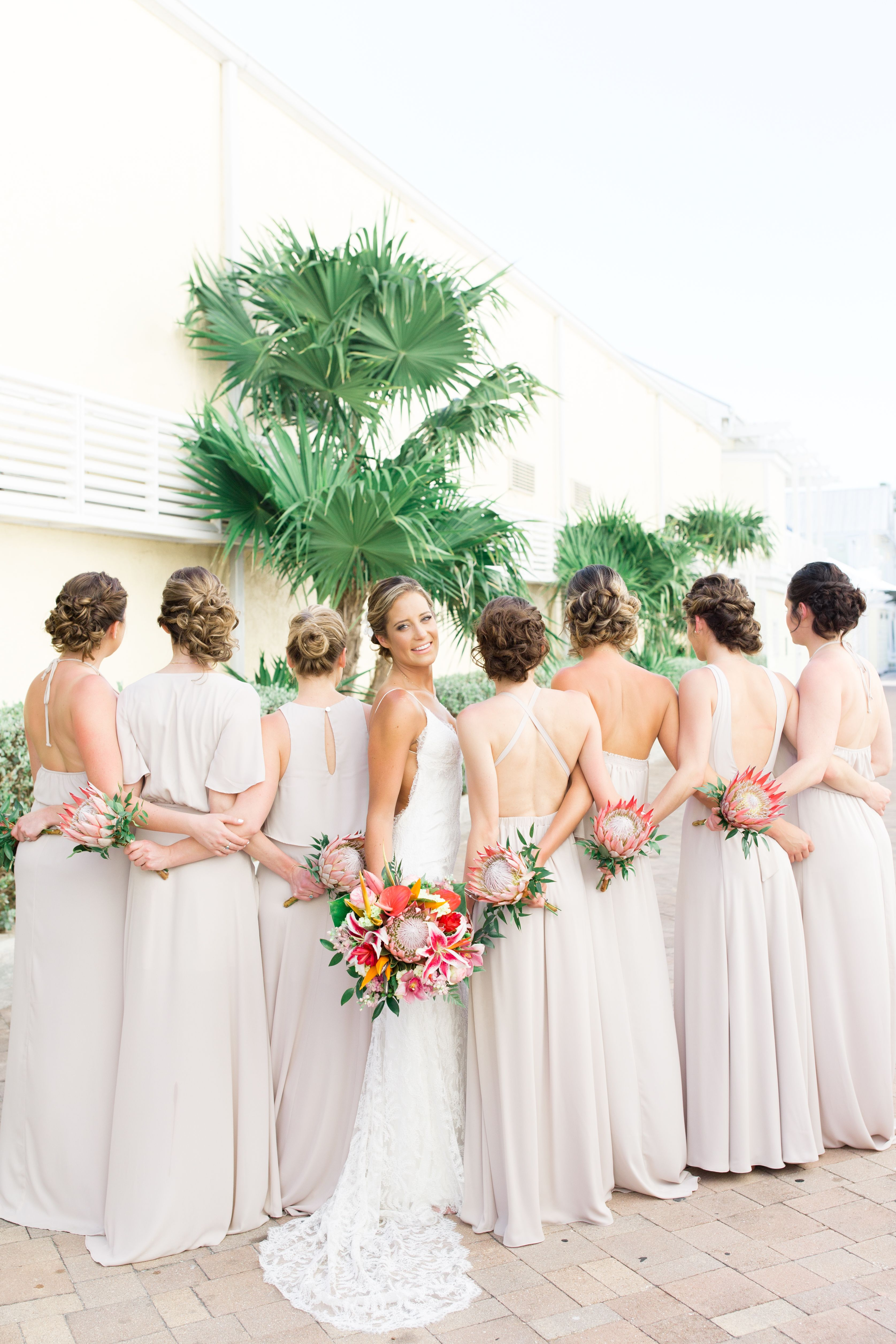 Bride With Her Bridesmaids King Proteas Bouquets Beach Wedding Key