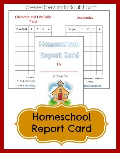 Free Homeschool Report Card Form Ultimate Homeschool Board