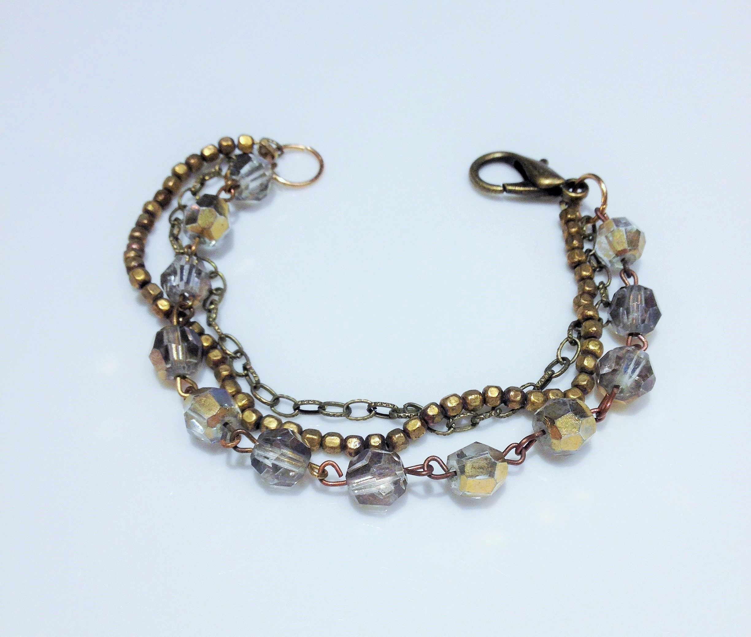 Up cycled bracelet made from parts of an extremely ugly pearl ...
