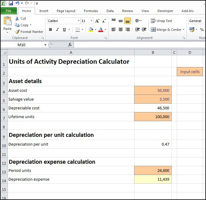 Units Of Activity Depreciation Calculator V   Education