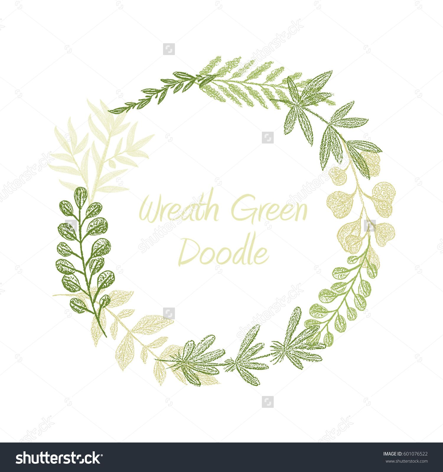 Greenery floral circle wreath vector greeting invitation or wedding card template Hand drawn