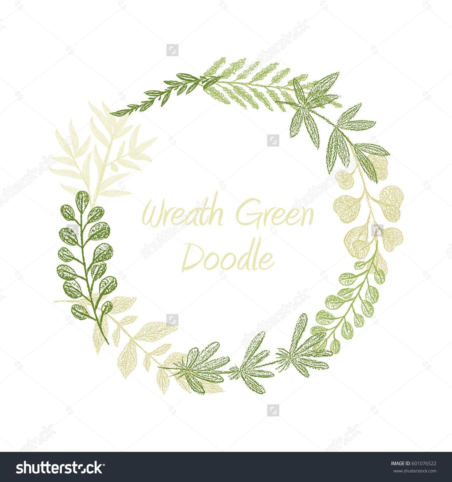 Greenery floral circle wreath vector, greeting, invitation