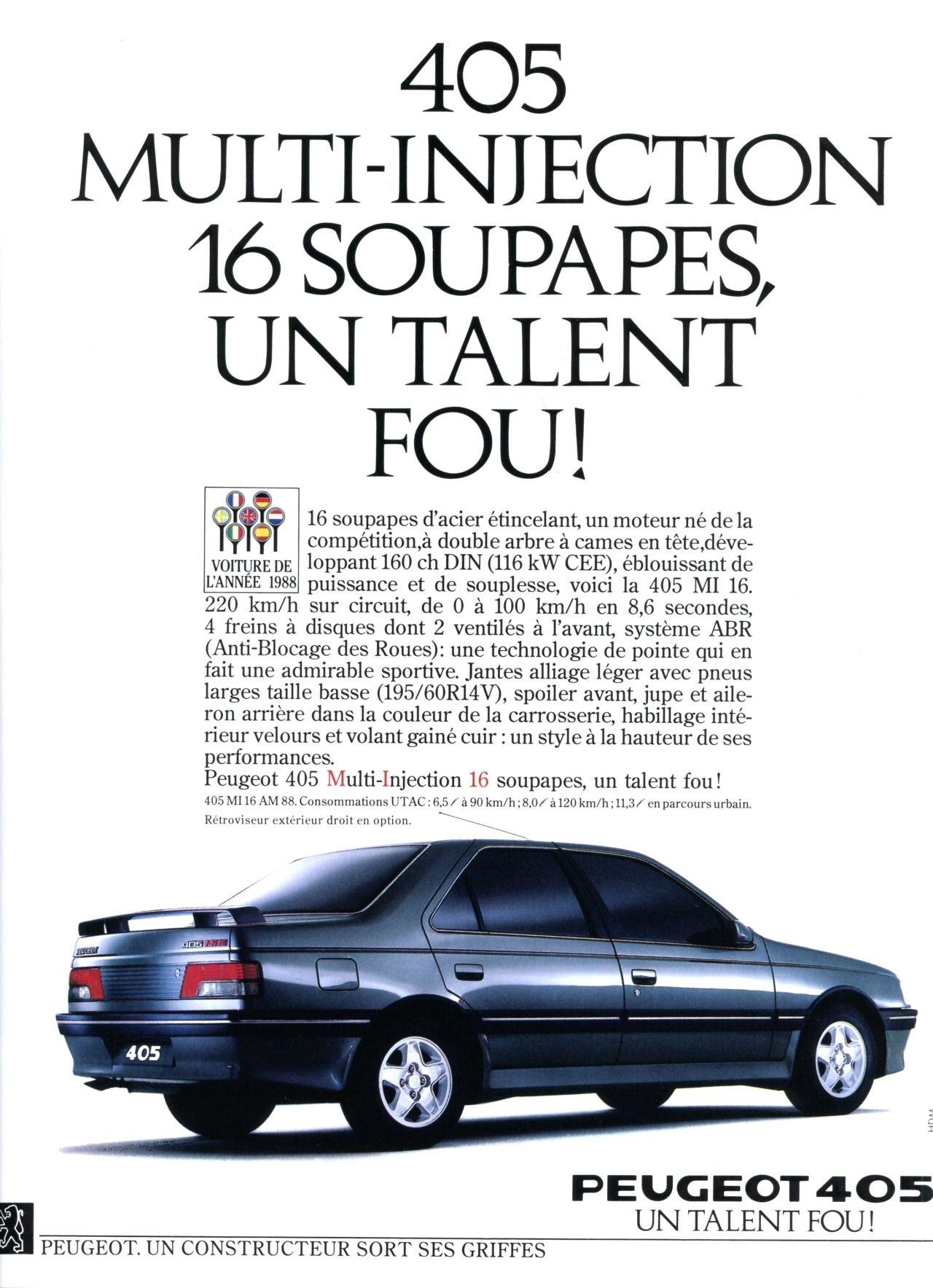 Publicité Peugeot - Automobiles Classiques juin / juillet 1986.