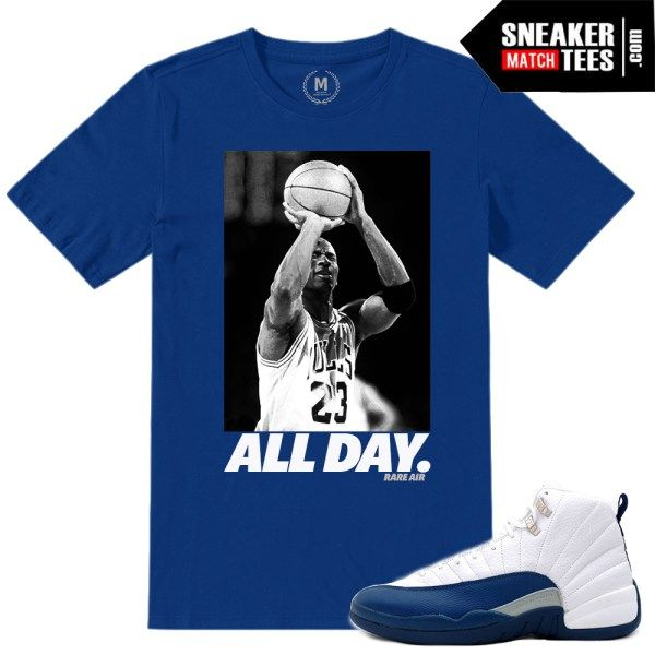 8d4c26692ad644 match jordan 12 french blue shirts retro 12 sneaker tees