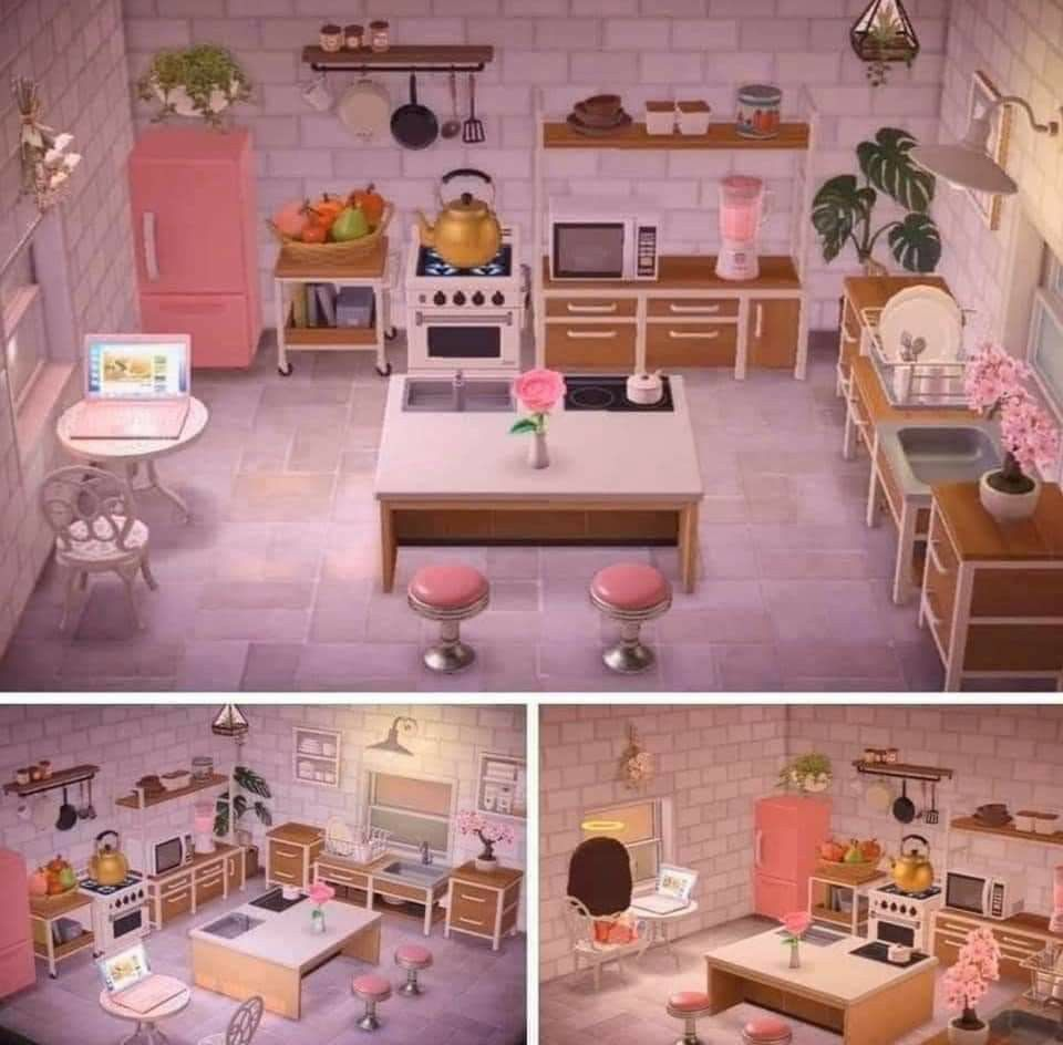Pink Kitchen Acnh In 2020 Animal Crossing Animal Crossing 3ds Animal Crossing Villagers
