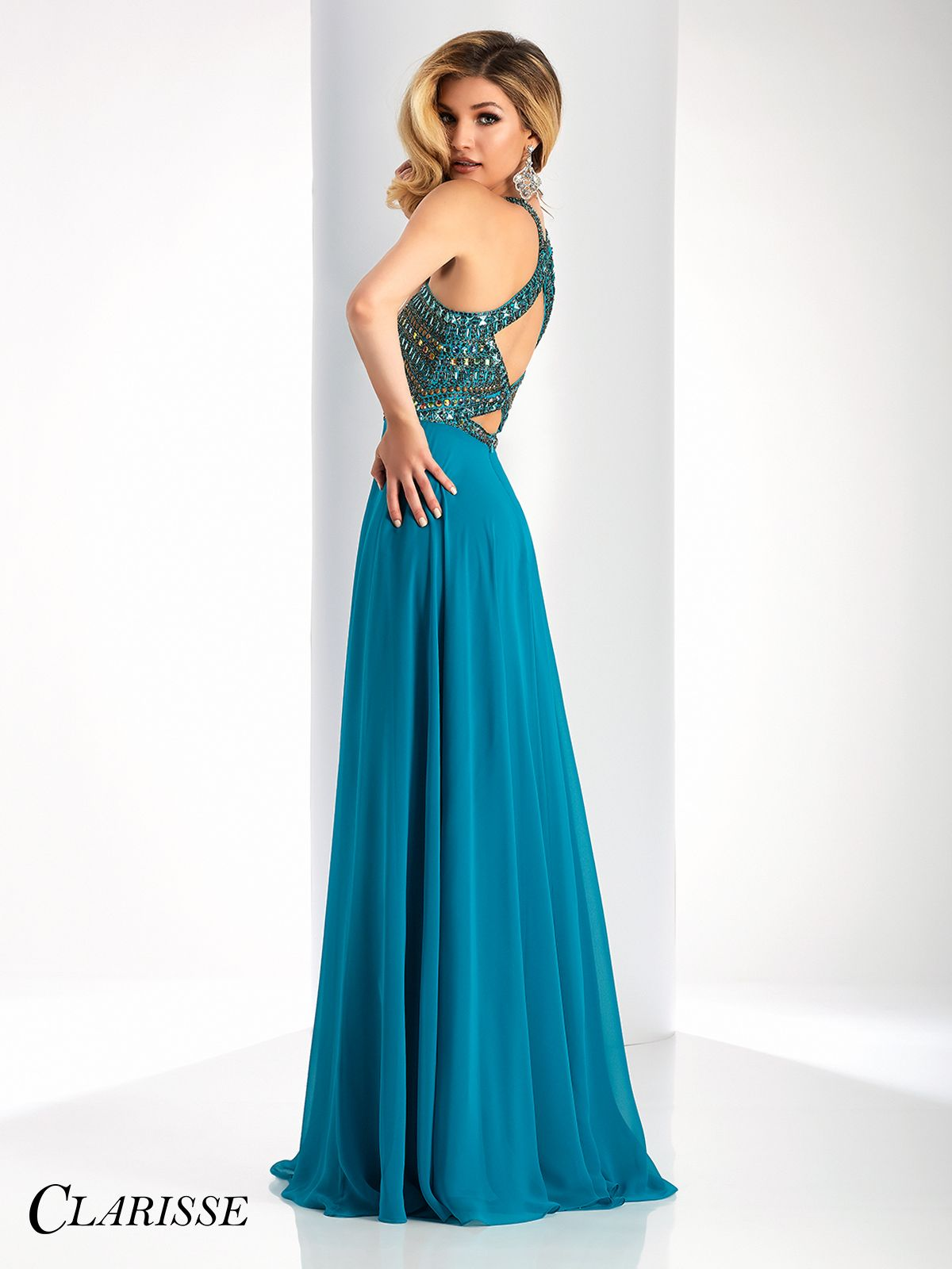 Clarisse Prom Dress 3066. Gorgeous, halter prom dress with flowing a ...