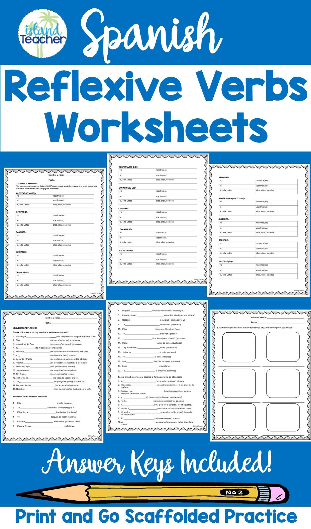Spanish Reflexive Verbs Worksheets Practice Spanish Reflexive Verbs Reflexive Verbs Verb Worksheets