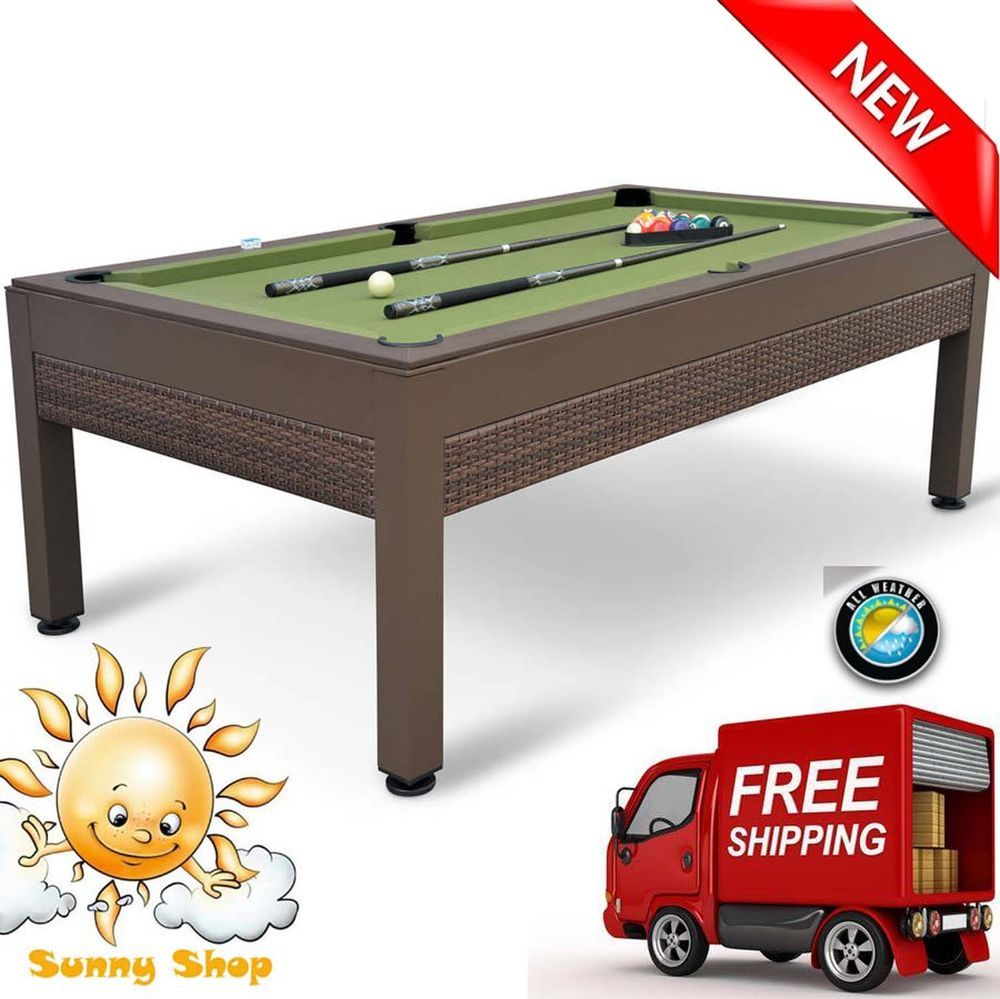 84 Inch Outdoor Billiard Pool Table Weather Resistant Hand Woven Resin Wicker 7449681450347 Ebay Outdoor Pool Table Pool Table Accessories Billiards
