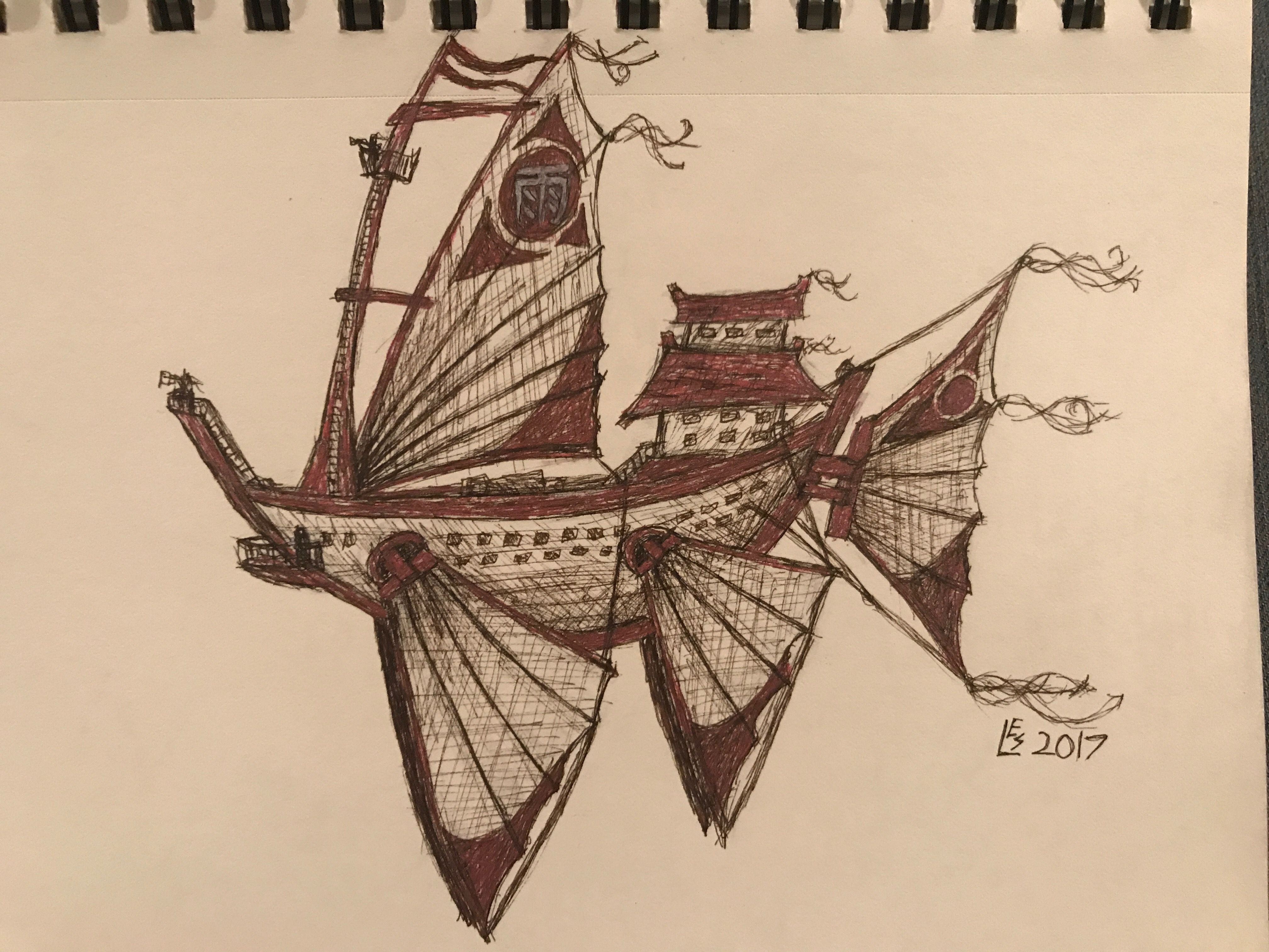 Airship Rain by Lauren Spears (aka xadodragon on deviantart). I have recently gotten really into airships and the like and have always loved the movie Treasure Planet. Feel free to rejoin with credit!