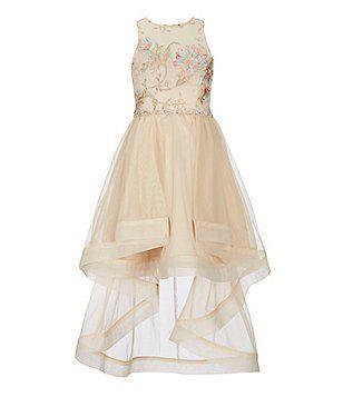 2c328606e Rare Editions Big Girls 7-16 Embroidered-Bodice Horsehair High-Low Hem Dress