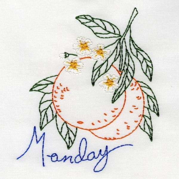 Fanciful Fruit Days Of The Week - Aunt Marthas Machine Embroidery ...