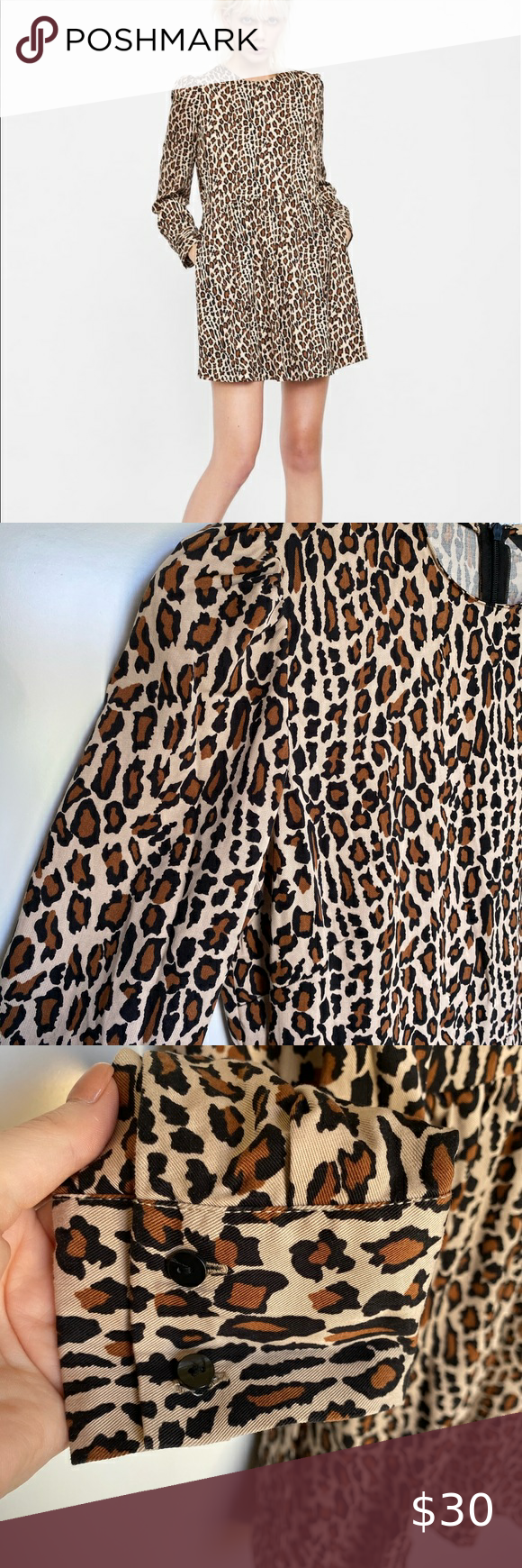 Zara Cheetah Print Long Sleeve Dress Long Sleeve Print Dress Long Sleeve Dress Animal Print Dresses [ 1740 x 580 Pixel ]
