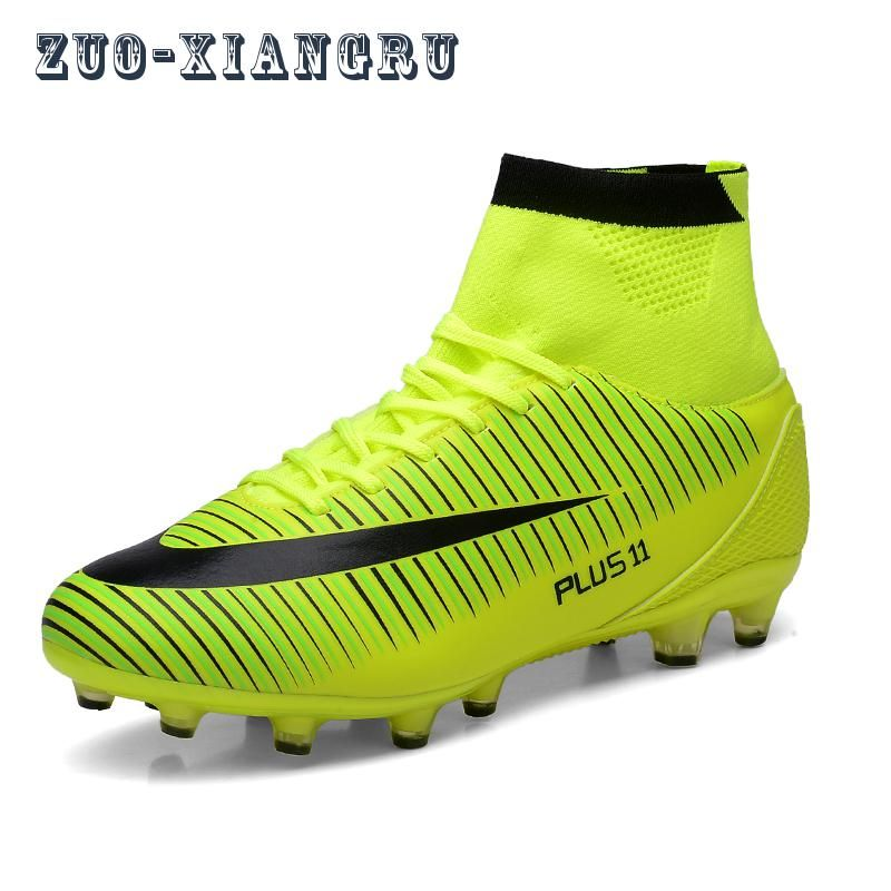 fae013065c6 High Ankle Men Football Shoes TF FG AG Long Spikes Training Football Boots  Hard-wearing Soccer Shoes High Top Soccer Cleats