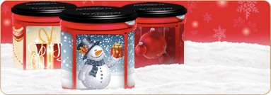 Deck Your Can with Holiday Fun.  Folgers offers holiday templates to replace the label on their cans to use as cookie containers.