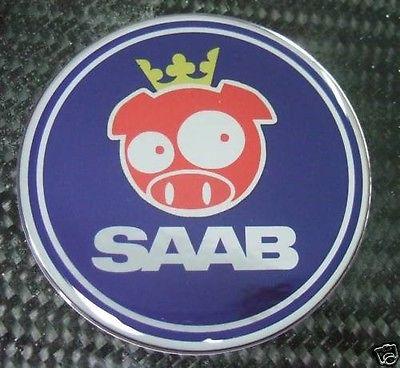 2 5 Saab Rally Pig Blue Emblem Decal 93 9 3 95 9 5 9 2x Ebay Saab Emblems Swedish Flag