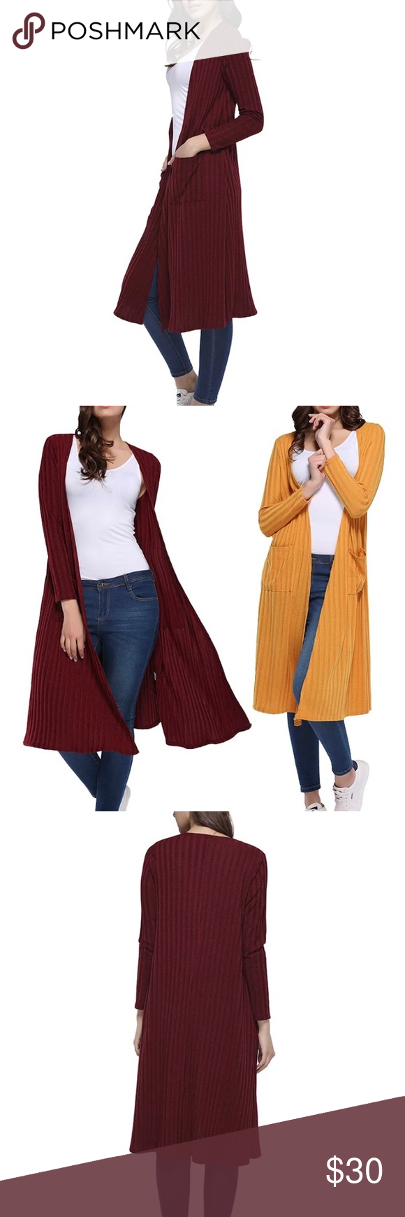 Cherry-Red Cardigan Long Cardigan, very comfortable made from 95% polyester (marled fabric) Sweaters Cardigans #myposhpicks