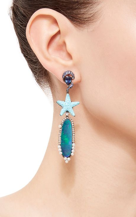Turquoise Starfish Opal Earrings by Wendy Yue for Preorder on Moda Operandi