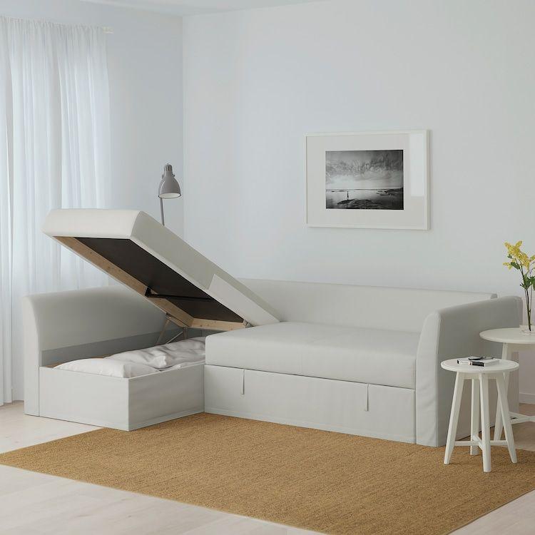 Holmsund Sleeper Sectional 3 Seat Orrsta Light White Gray In 2020 Leather Corner Sofa Corner Sofa Bed Ikea Corner Sofa Bed