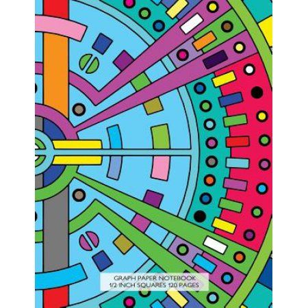 Graph Paper Notebook 1\/2 Inch Squares 120 Pages Notebook with Art - 1 inch graph paper