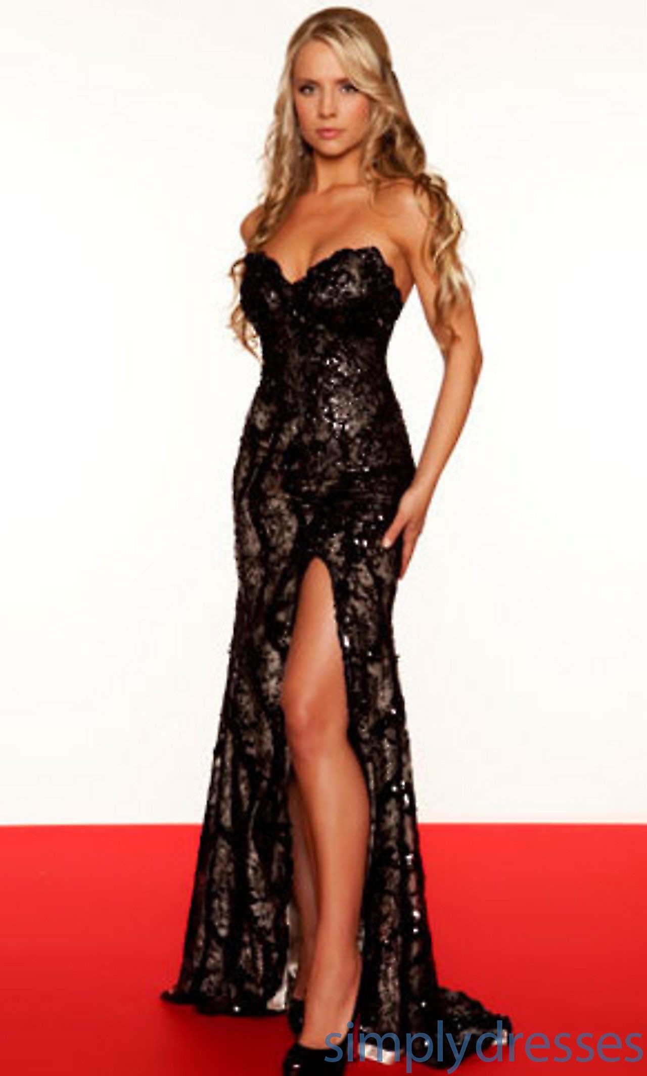 Would love to wear to a ball full length strapless black and nude