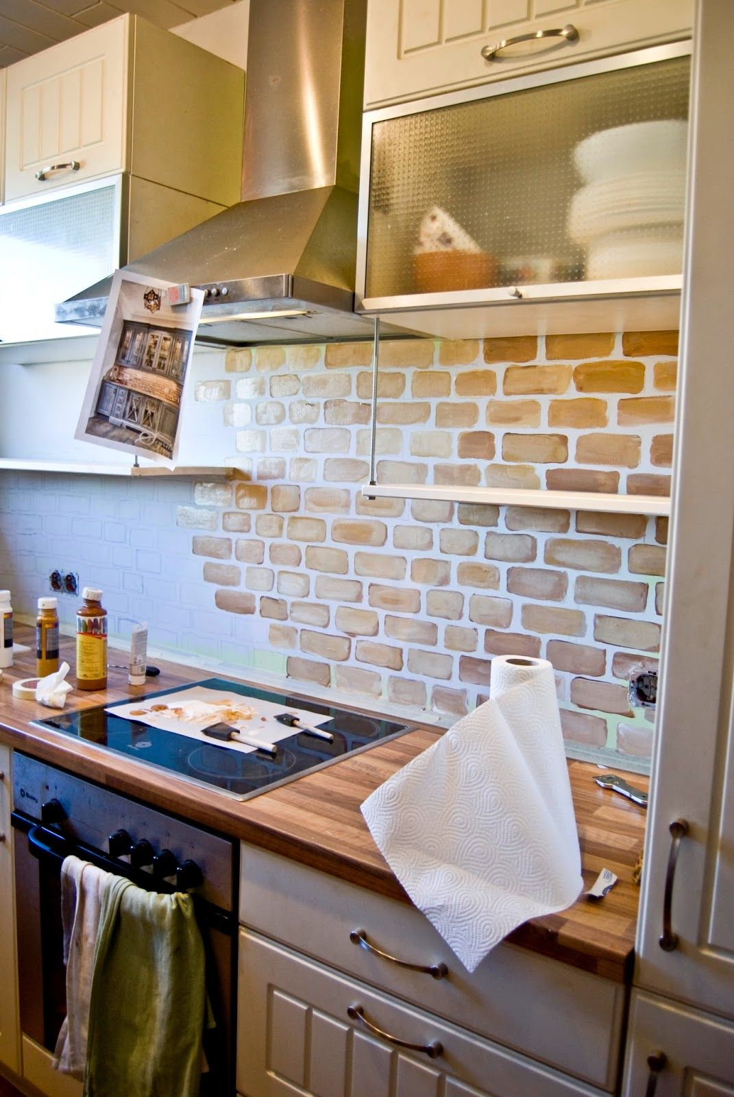 enchanting faux brick backsplash kitchen | small kitchen with painted faux brick backsplash - Pudel ...