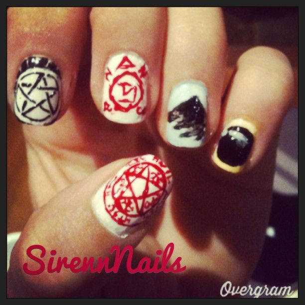 Supernatural nails, complete with demon eye, angel wing, angel ...