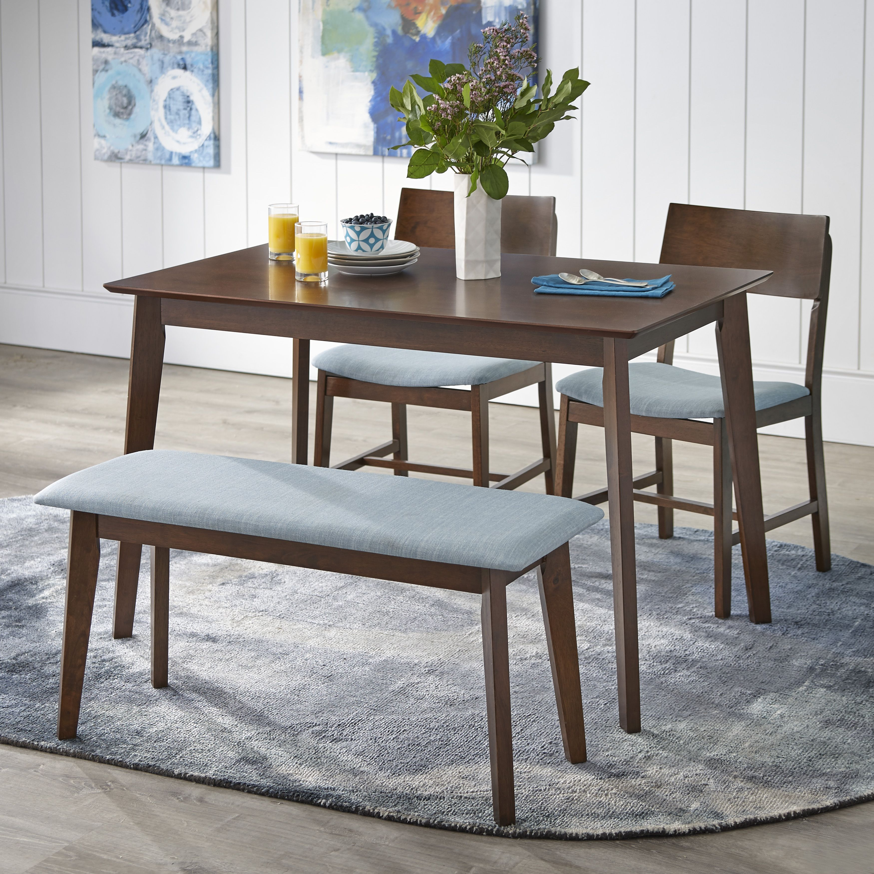 Home Dining Set With Bench Mid Century Dining Set Round Dining