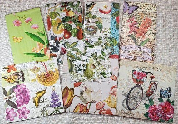 Decoupage Napkins -  Garden Mix - 8 Different Napkins, Decoupage paper, butterfly paper napkin, flor #papernapkins