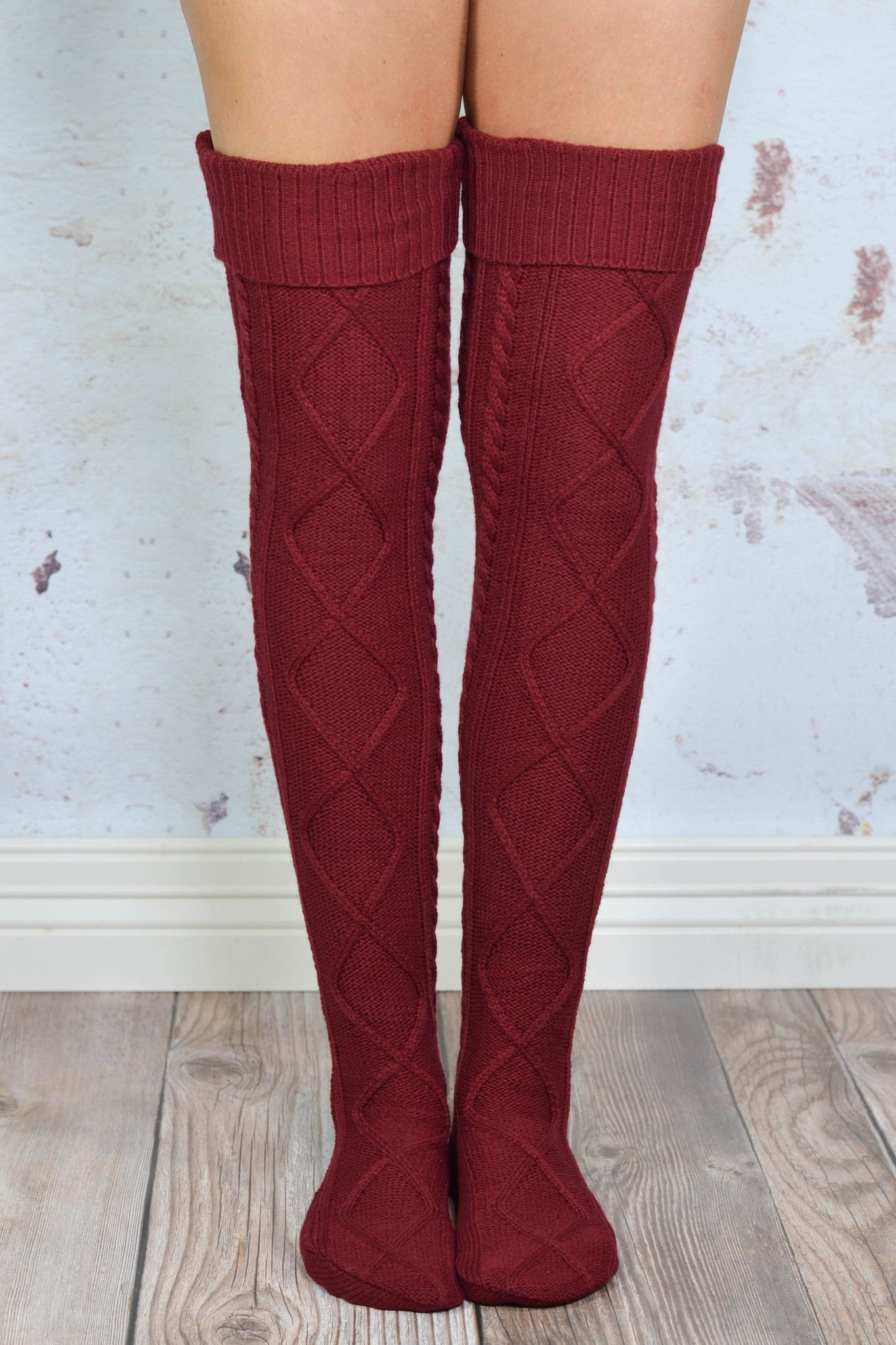 Burgundy diamond cable knit boot socks in pinterest