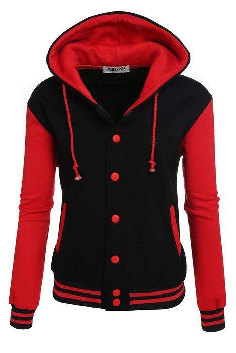 Zeagoo Women s High Quality Bomber Baseball Jacket Hoodie Sweatshirt (Red  Black)  25 58fd7492b1