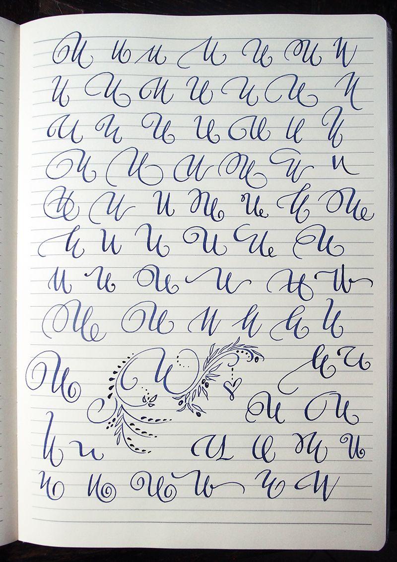 Majuscule U variants by Polish calligrapher Barbara Galinska on Behance