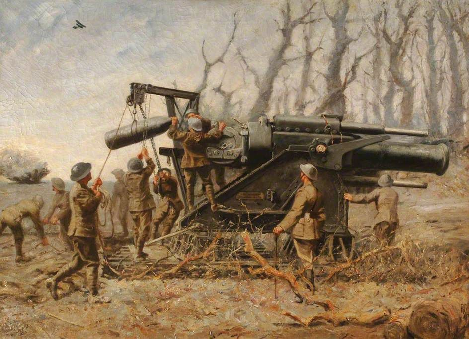 Royal Marine Artillery Howitzer in Action, 1914 by R. French. Date ...