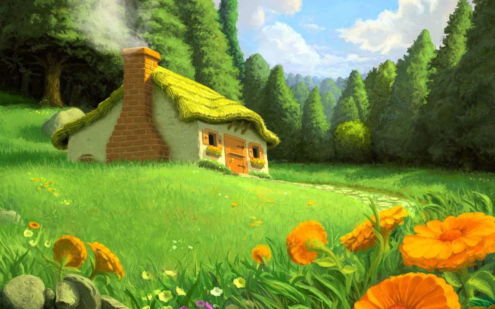 Artistic Cottage In The Meadow WallPaper HD