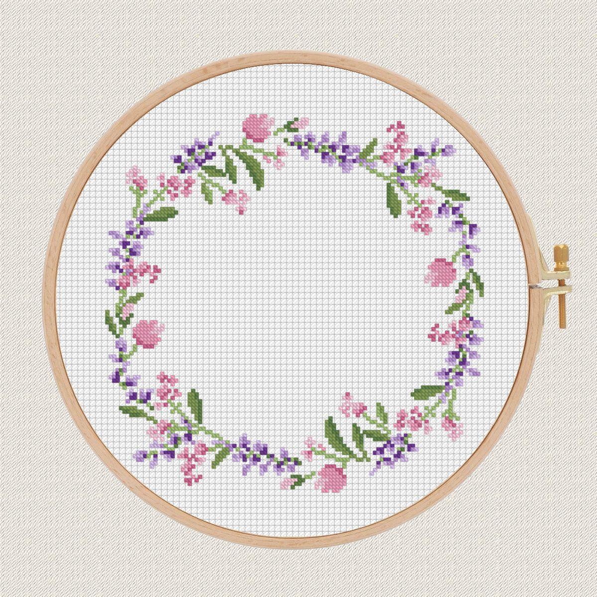 flowers cross stitch pattern Lavender Helleborus floral wreath cross ...
