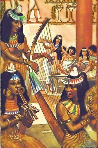 Music - Ancient Egypt .... Probably the best indication of the Ancient Egyptian's enjoyment and value of music and dance is a satirical papyrus wherein an ass is playing a large harp, a lion with a lyre, a crocodile with a lute, and a monkey with a double oboe.