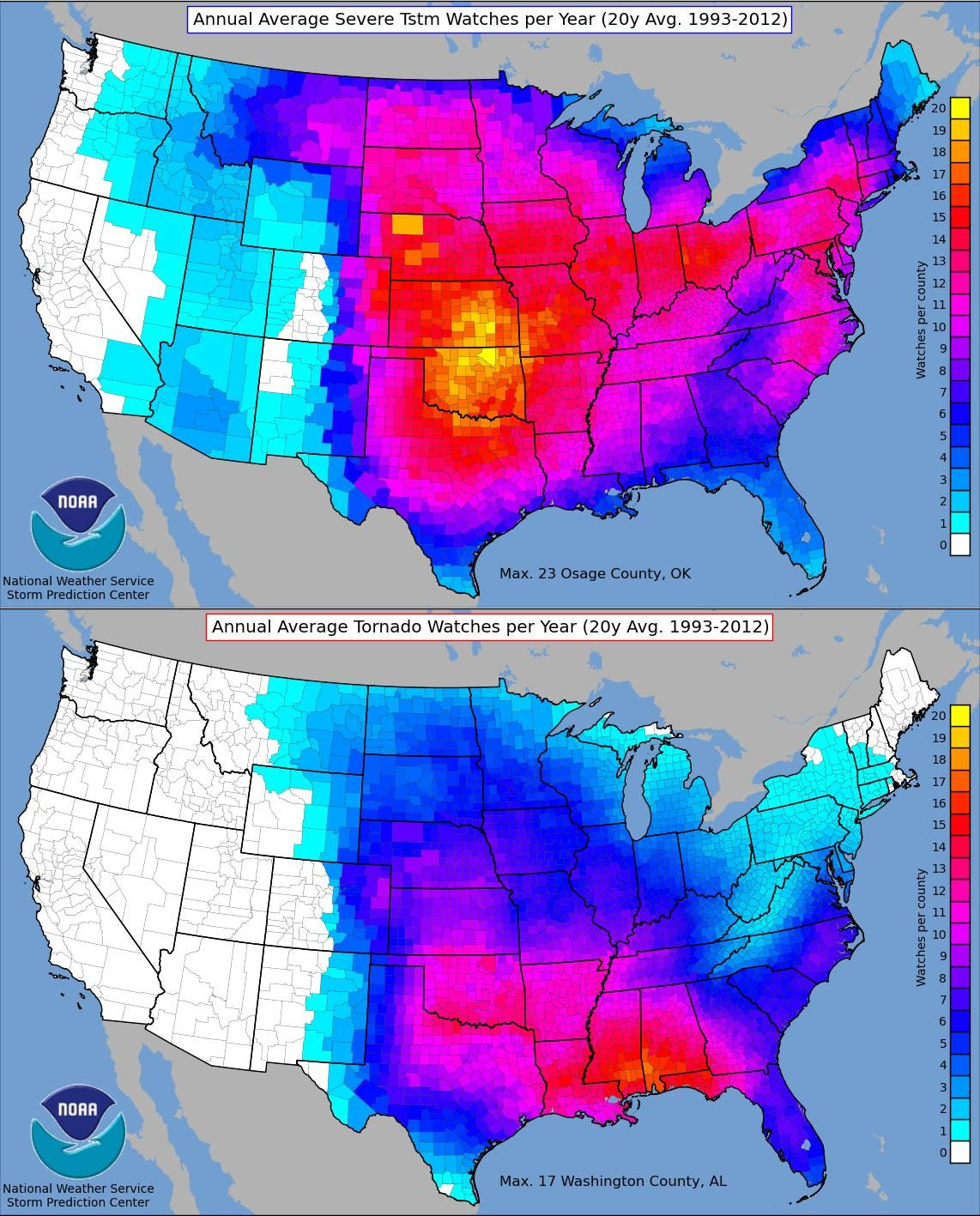 Annual Average Severe Thunderstorm And Tornado Watches Per