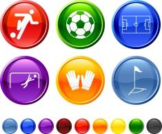 soccer match royalty free vector icon set vector art illustration