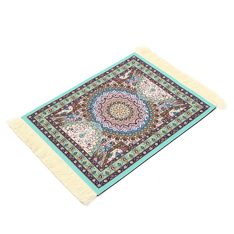 Persian Rug Mouse Cup Mat Bohemia Carpet Mousepad Gift Craft Pad Tassel Decor