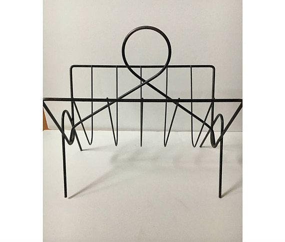 Mid Century Storage Rack Wrought Iron Magazine Rack Metal Etsy Wrought Iron Magazine Rack Mid Century Storage Home Decor