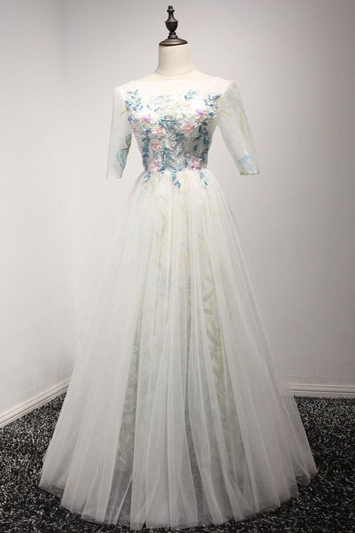 White tulle long lace prom dress with mid sleeves prom dress