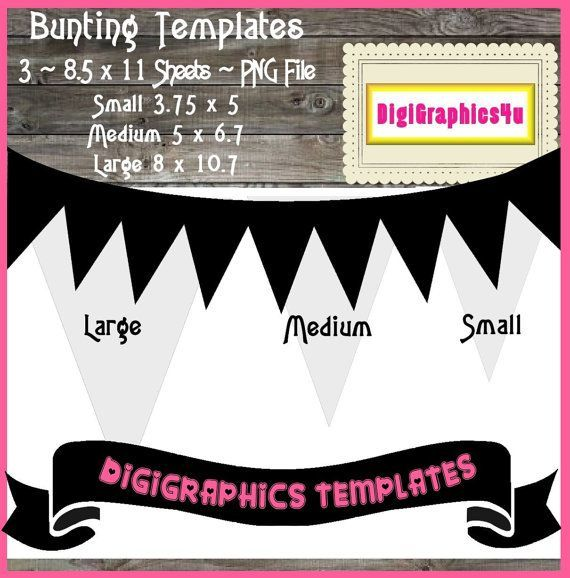 Check out Bunting Pennant Template Instant Download PNG For - line sheet template download
