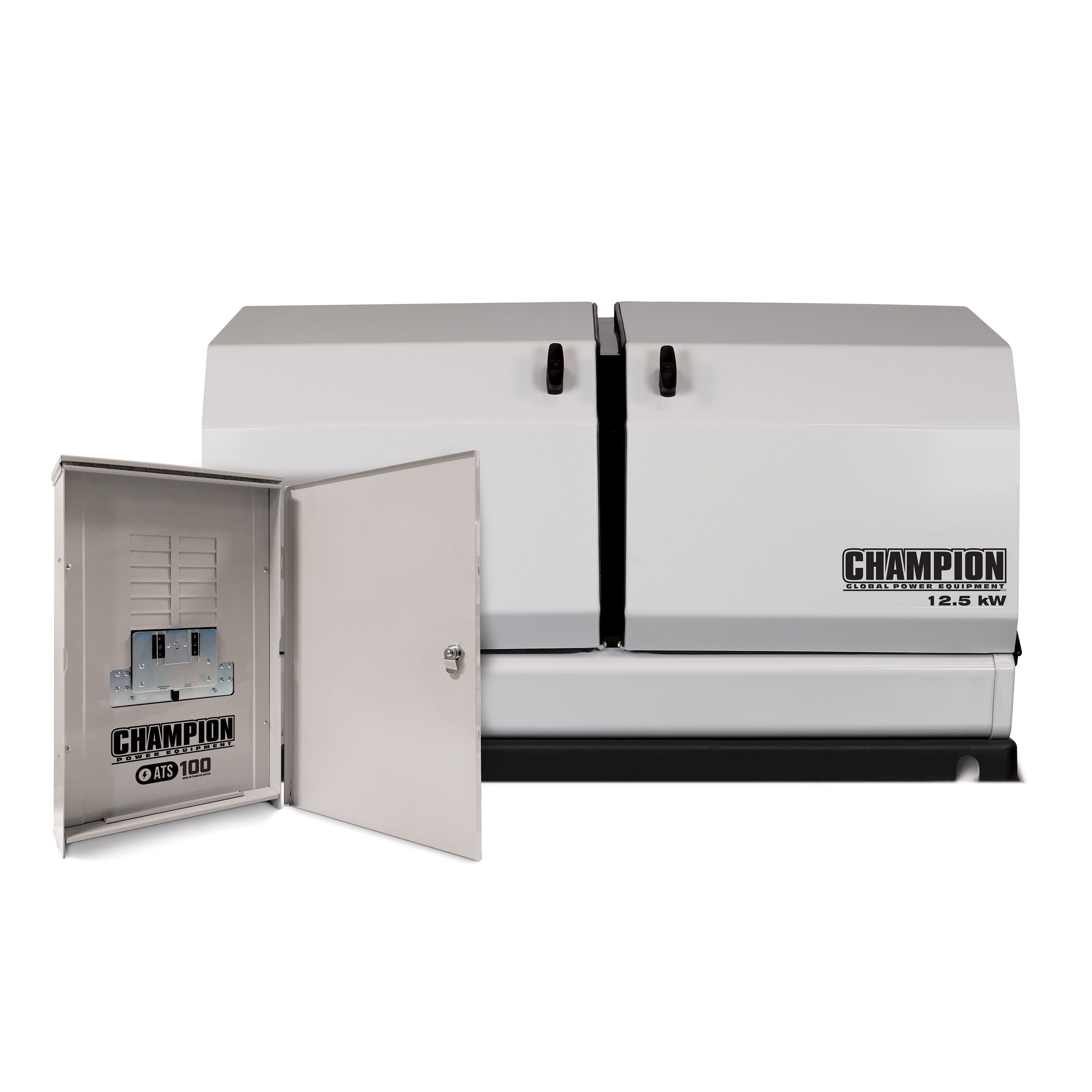 Champion 12 5 Kw Home Standby Generator With 100 Amp Outdoor Rated Automatic Transfer Switch Home Standby Ge Standby Generators Transfer Switch Locker Storage