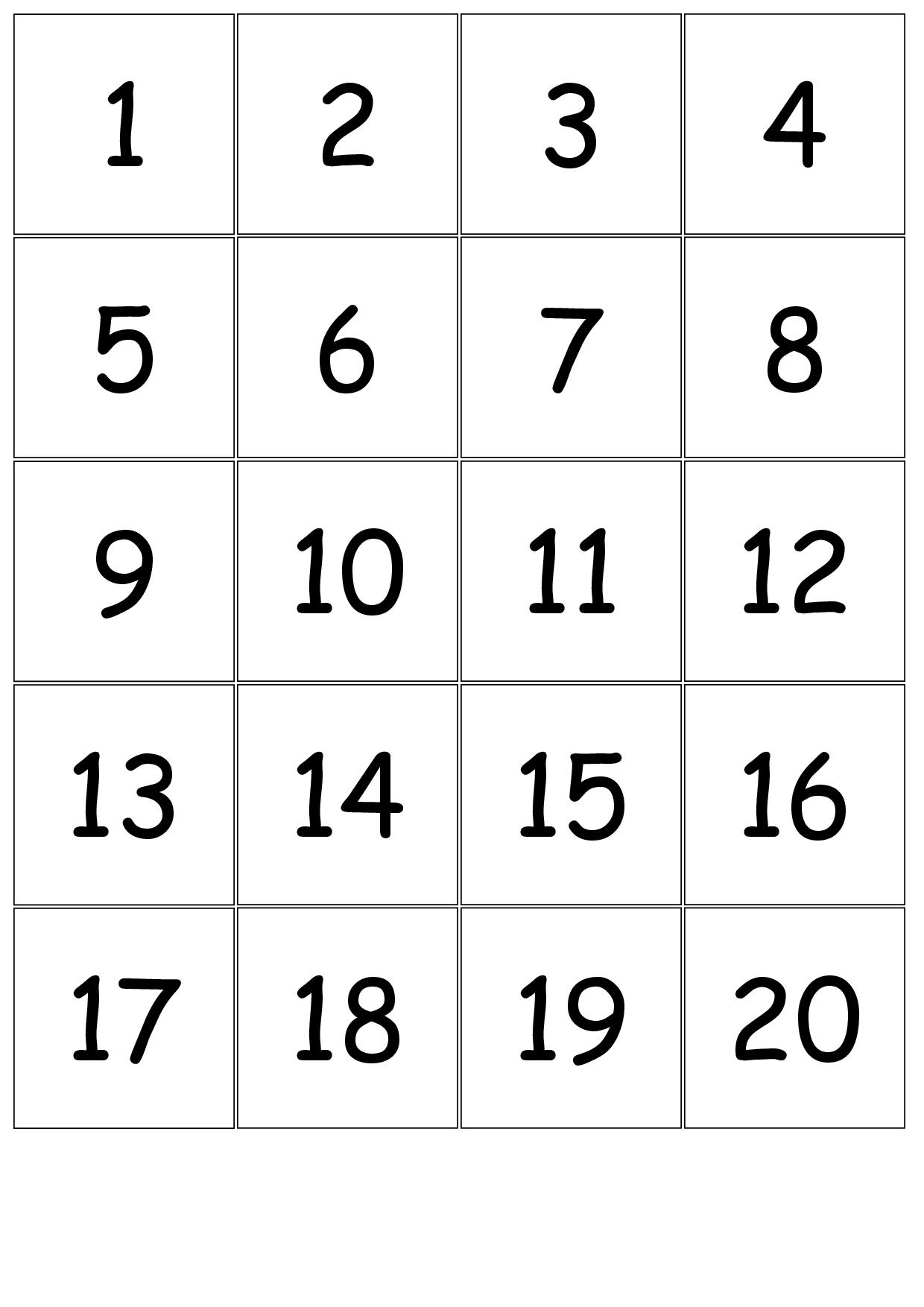 Number Cards 1-20 | school | Pinterest