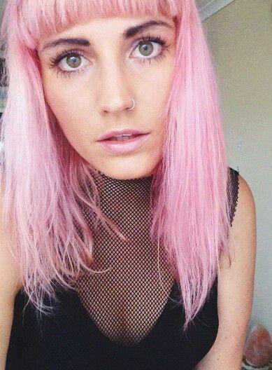 straight blush-pink mid-length