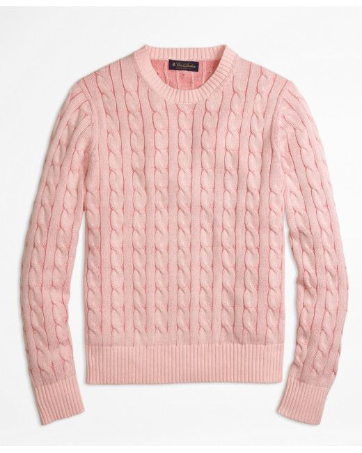 Brooks Brothers - Pink Heathered Cable Knit Crewneck Sweater for Men - Lyst