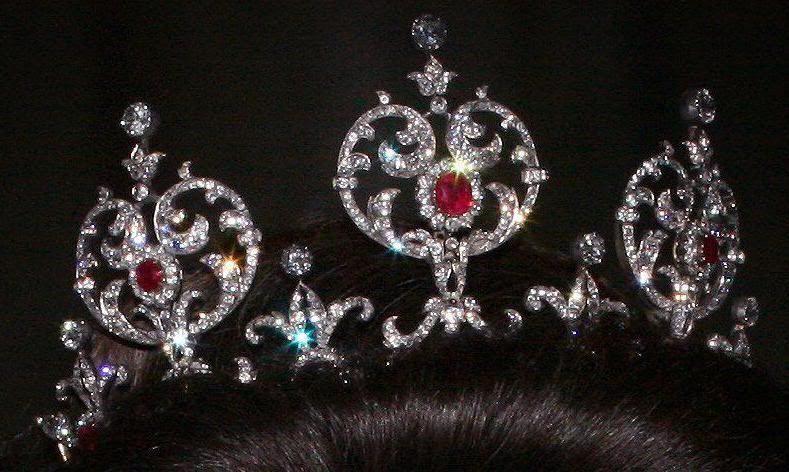 The Edward VII ruby tiara, worn by Queen Silvia, whose dark hair ...