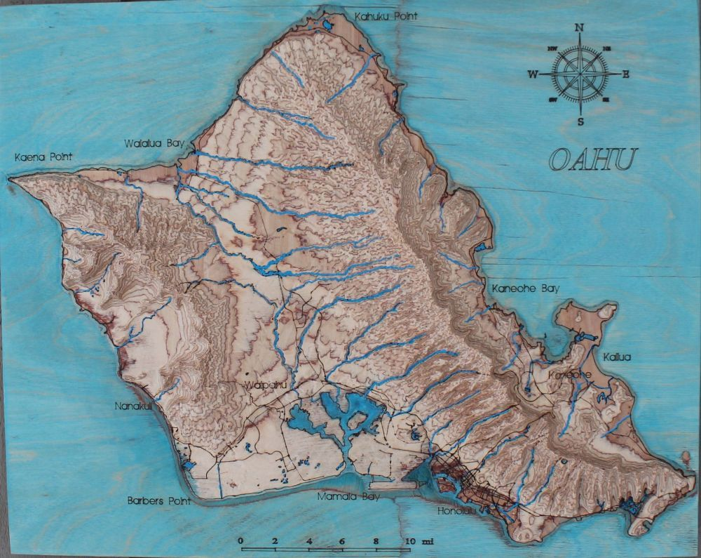 Oahu Hawaii 3D map Hand painted map 3dart wallart tideas