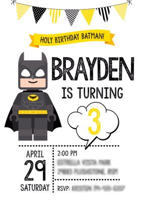 Lego Batman Birthday Party Invitation