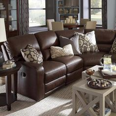 Furniture Wonderful Classic Style Dark Brown Leather Living Room Sectional Sofa With Recliner And Accessories Modular